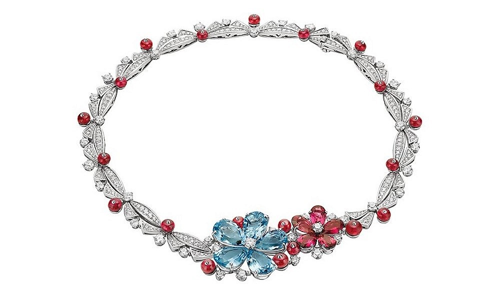Spinel and white gold necklace