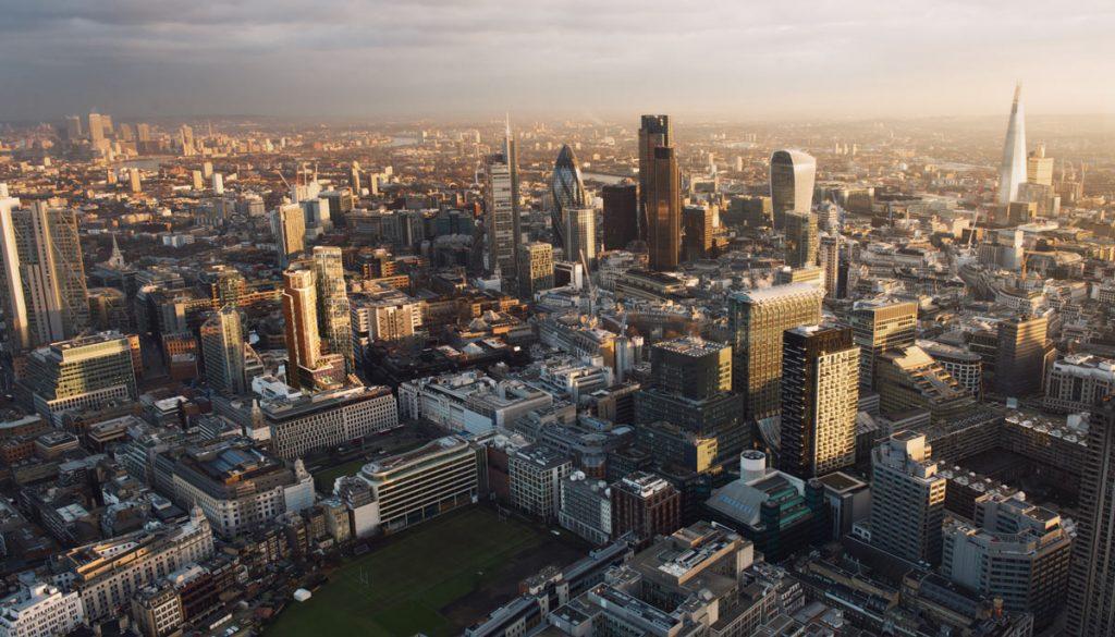 London city at sunset