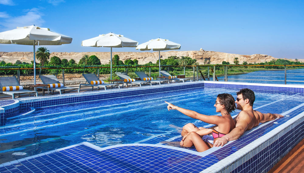 Swimming pool on the OberoiPhilae, luxury cruise on the Nile