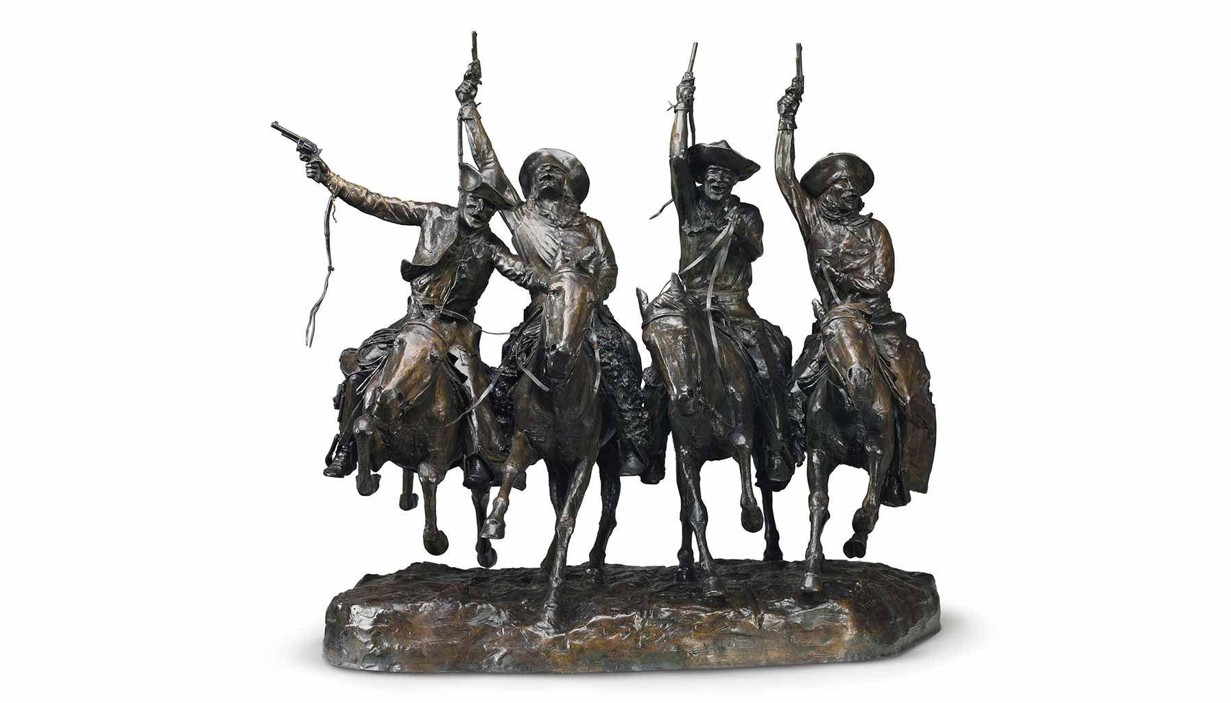 Coming Through the Rye by Frederic Remington, a bronze cast with brown patina.