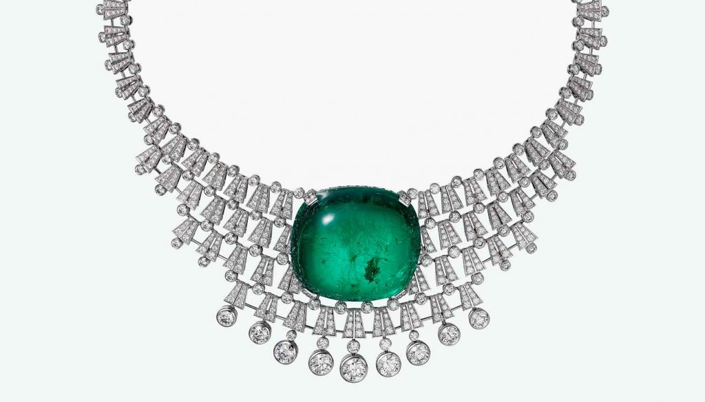 Cartier necklace with diamonds and an emerald