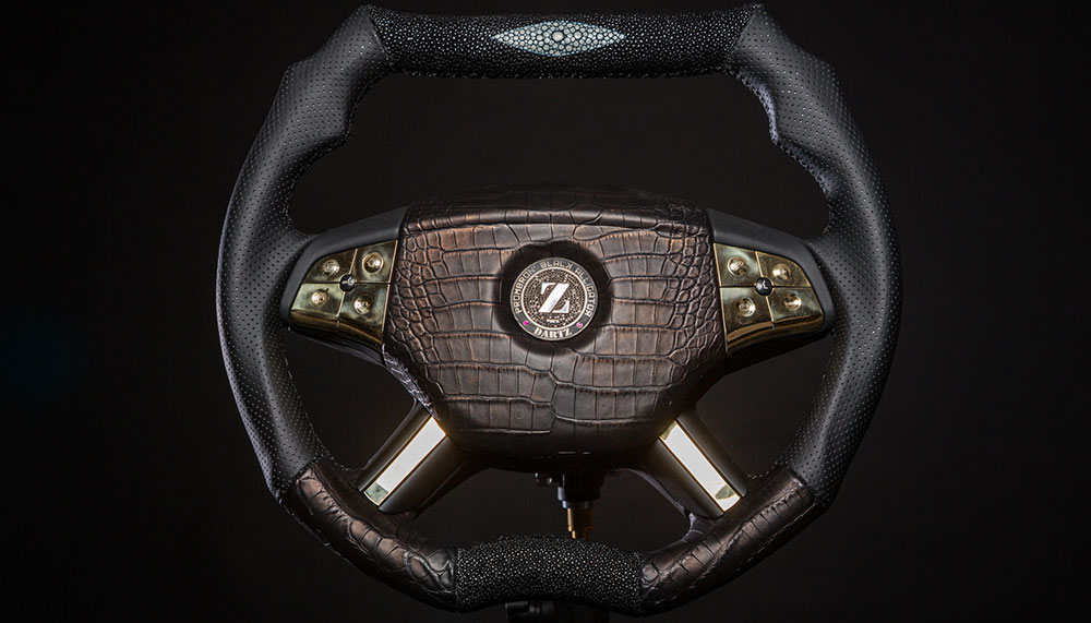 Black Alligator Steering Wheel by Dartz Motorz
