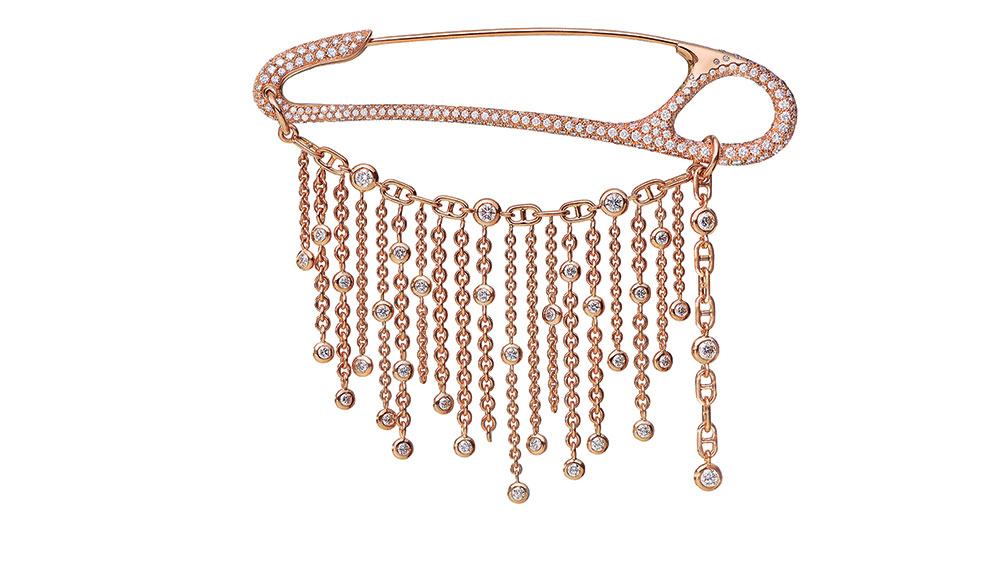Hermes Chaine d'Ancre Punk Fringe Brooch in Rose Gold and Diamonds
