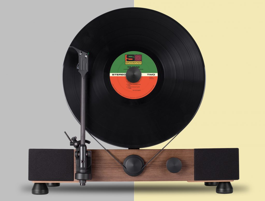Floating Record Vertical Turntable by Gramavox