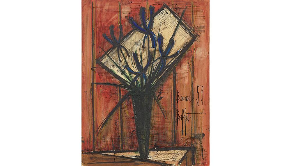 Bouquet de fleurs au vase by Bernard Buffet,