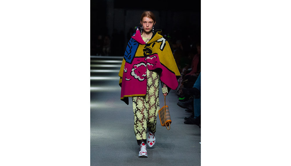 Burberry, Poster Graphic Fleece Jacquard Hooded Poncho and Wool Graphic Intarsia Cardigan