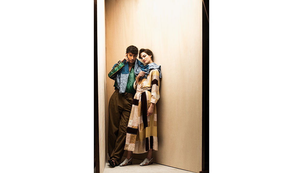 Toilbright blouson, cotton trousers, cashmere and silk scarf, calfskin sandals, Hermes, Silk jacquard dress, calfskin sandals