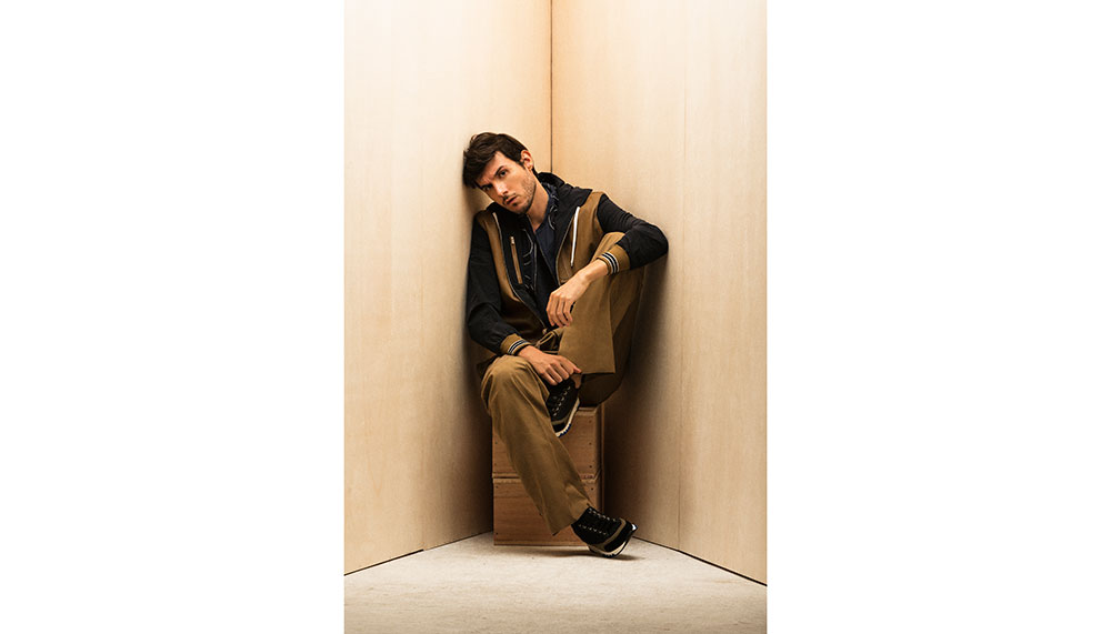 Hermes, Lambskin and Toilovent blouson, cotton shirt, linen tank top, cotton and linen trousers, and calfskin sneakers