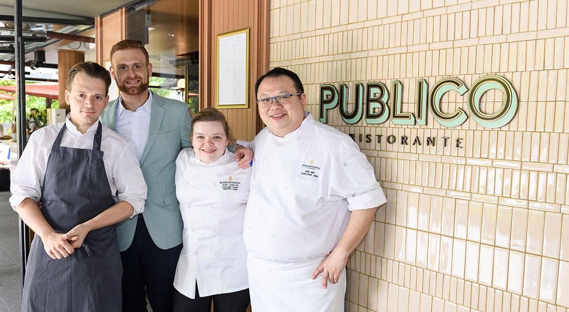 chef Eric Neo, chef de cuisine Sebastian Reischer, chef Chelsea Logan, Claudio Russo