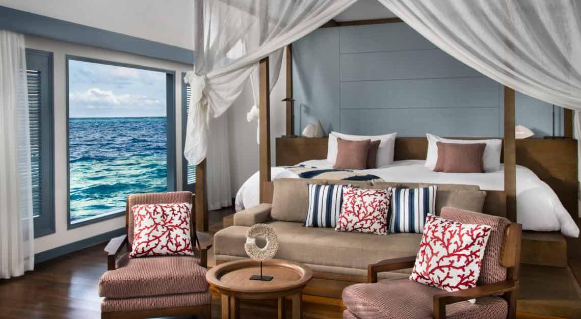 Raffles Maldives Meradhoo Overwater Villa Bedroom