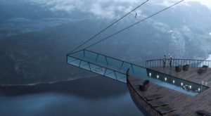 Cliff hotel in Norway concept