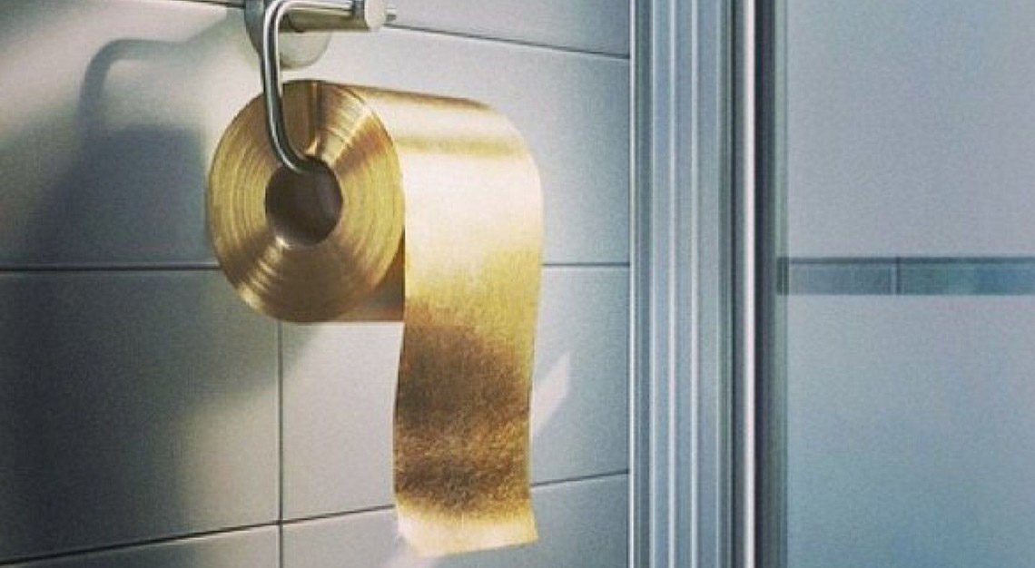 Gold toilet paper