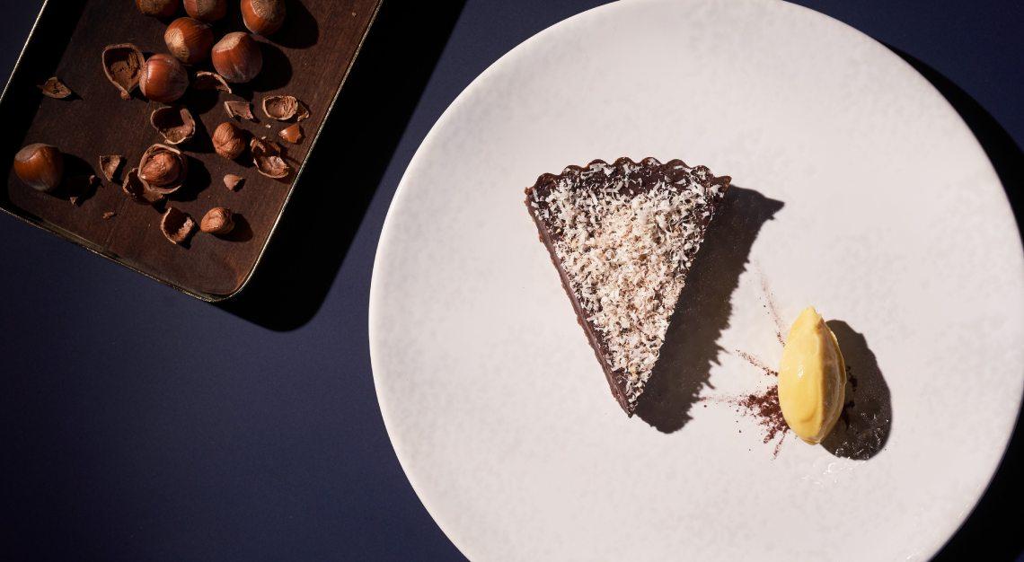 Chocolate Tart butcher's block raffles hotel