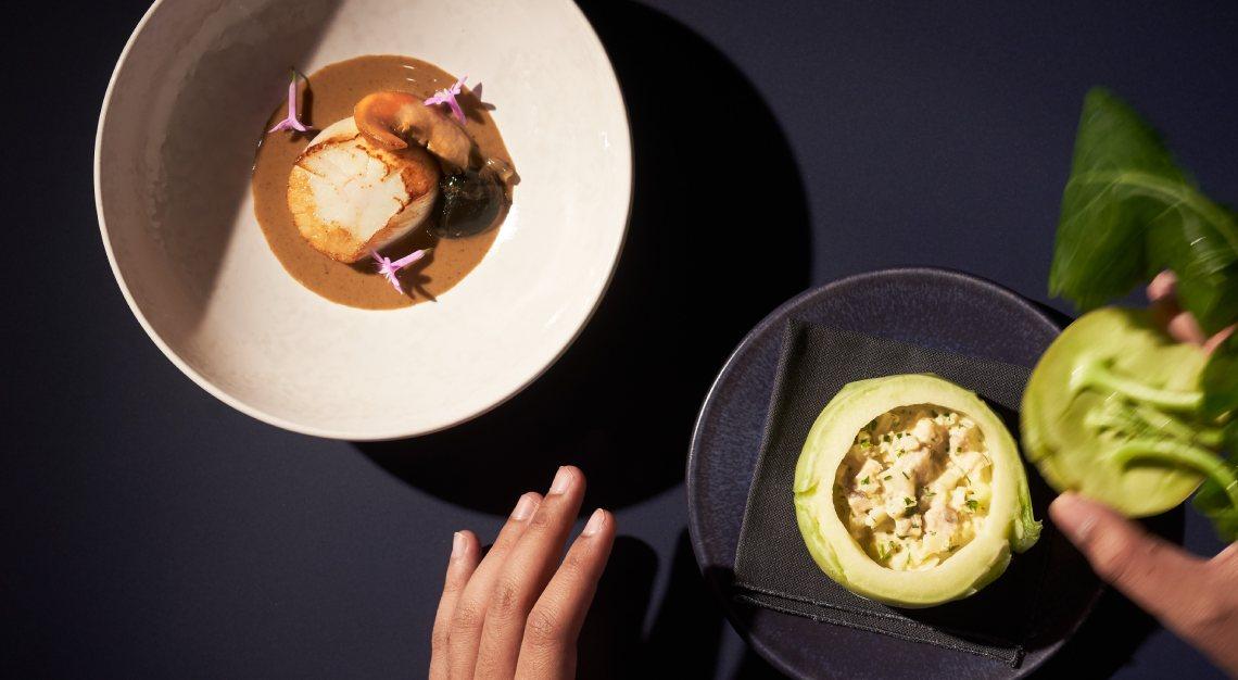Hand-dived Norwegian Scallops butcher's block raffles hotel