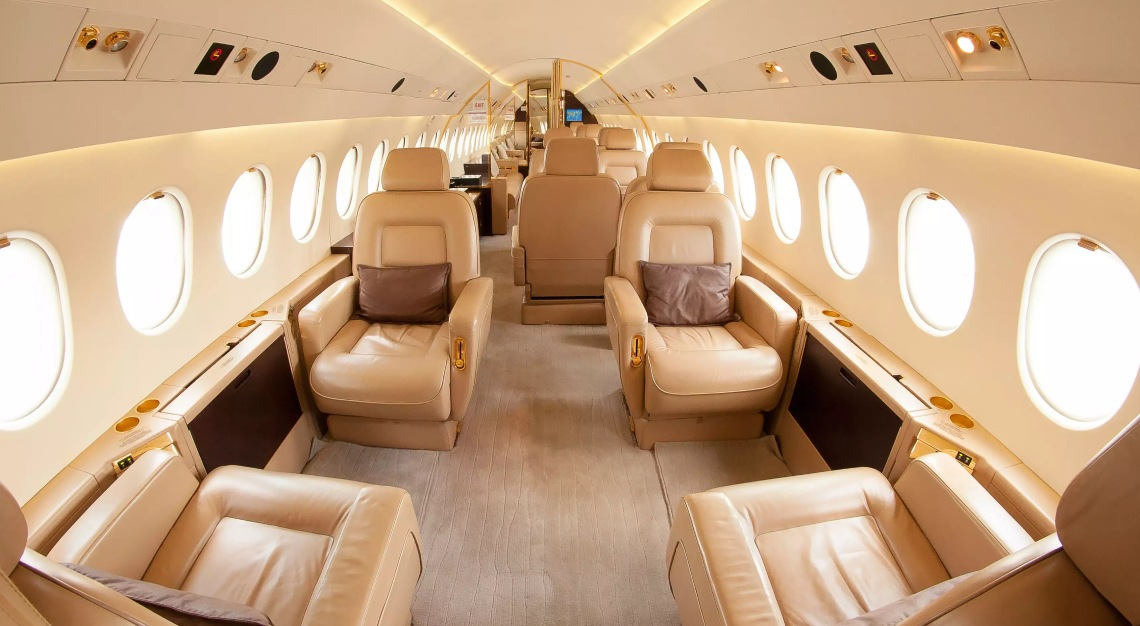 The interior of a Learjet.