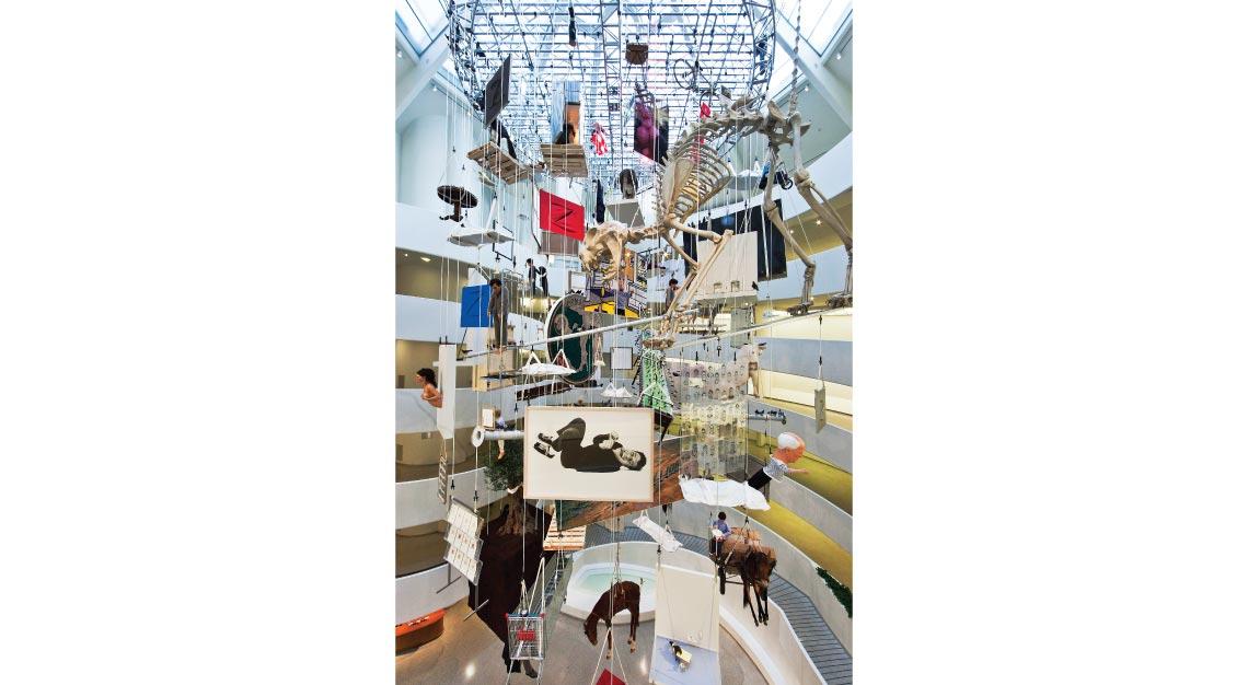 Maurizio Cattelan hanging-art
