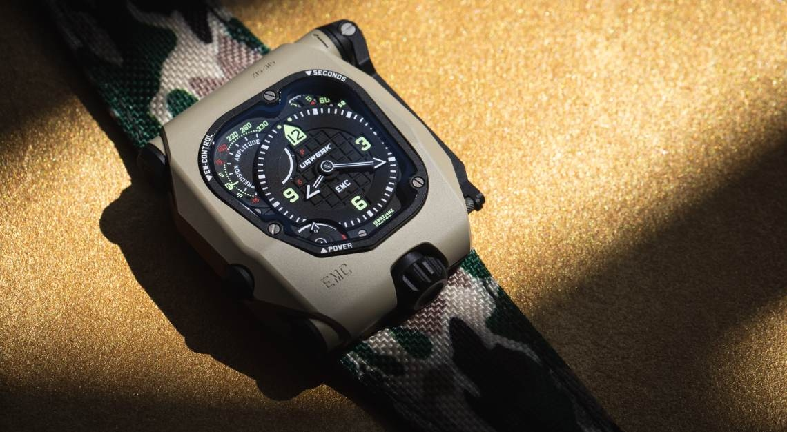 urwerk emc time hunter in desert sage