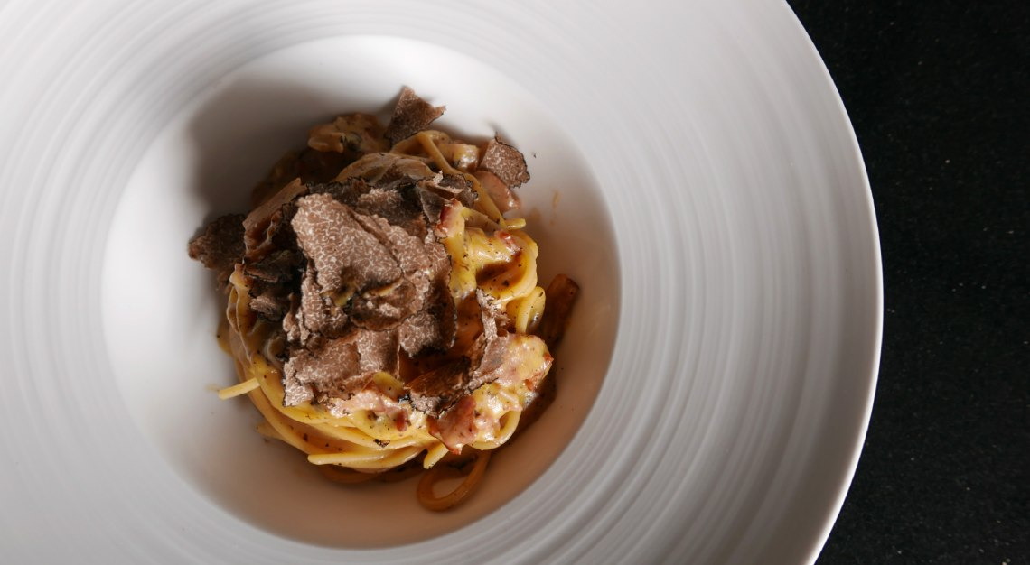 basilico Bronze Drawn Durum Wheat Spaghetti with Pork Guanciale, Egg Yolk, Pecorino and Black Pepper