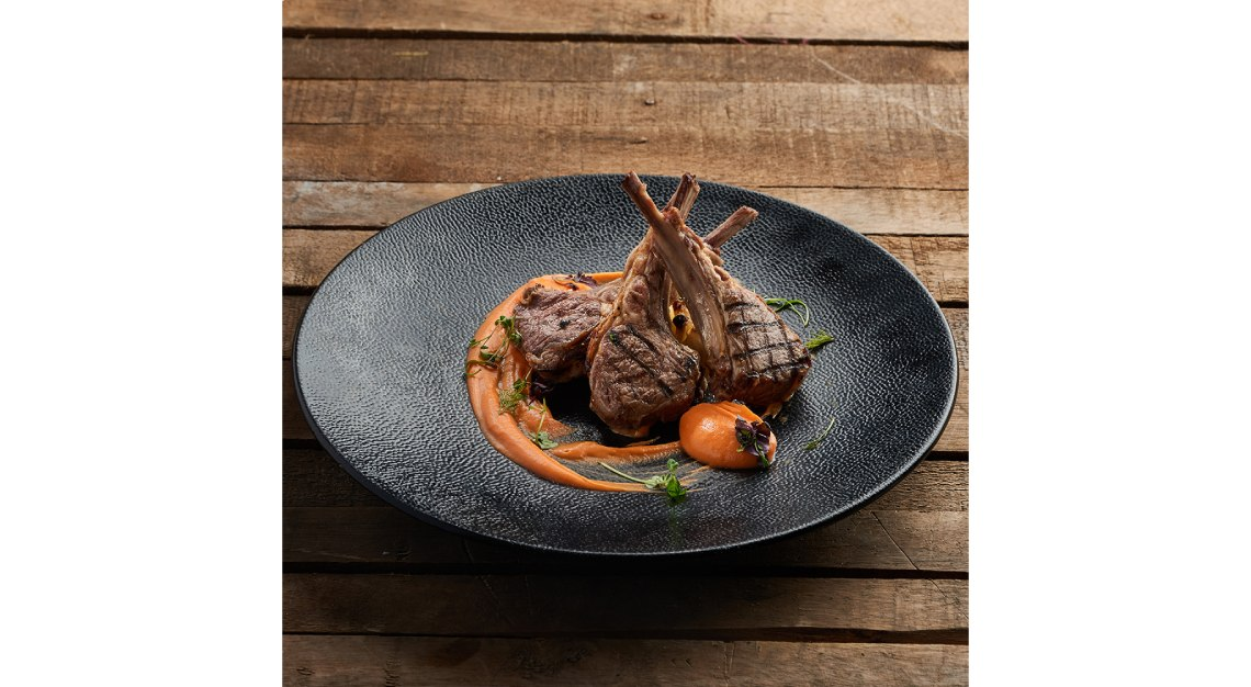 basilico Sardinian Roasted Rack of Lamb with Artichokes, Dried Tomatoes, Durum Wheat Fregola and Thyme Jus