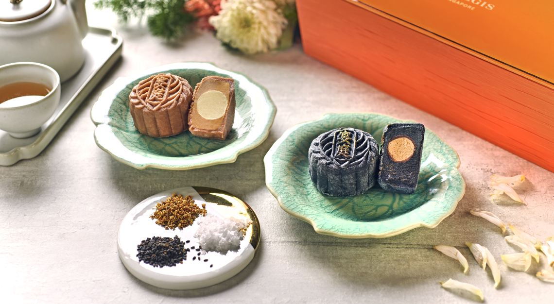 St Regis Yan Ting Black Sesame Paste with Caramel Sea Salt Truffle Snowskin Mooncake & Royal Milk Tea with Honey Osmanthus Truffle Snowskin Mooncake