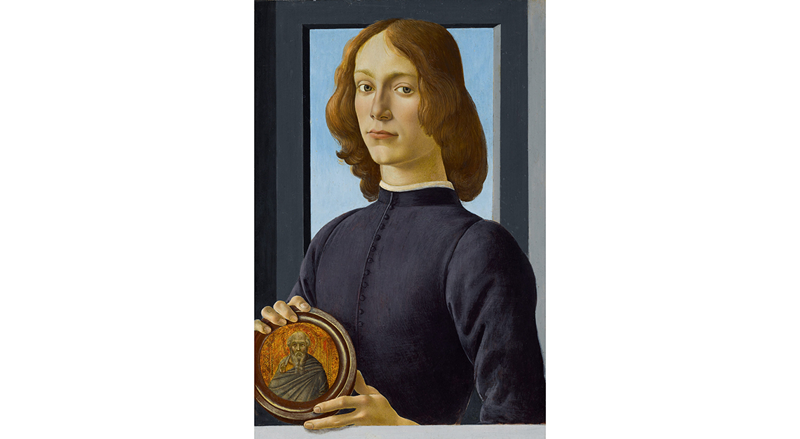 Young Man Holding a Roundel by Sandro Botticelli