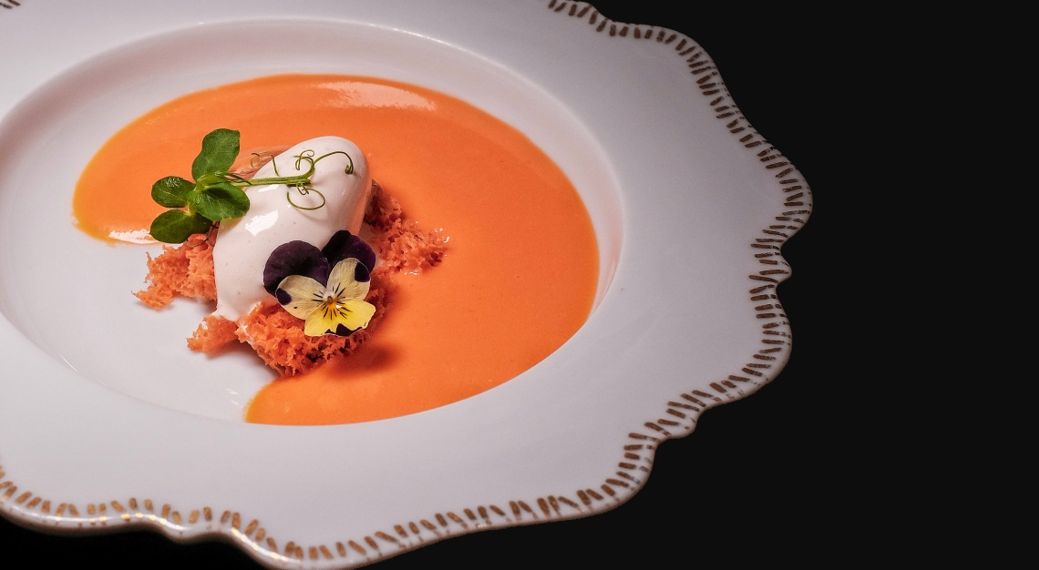 Gaig Salmorejo soup with burrata cheese and jamón ice cream