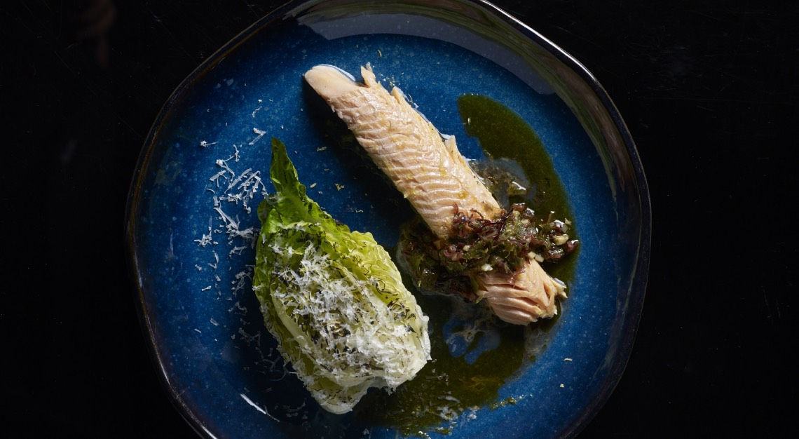 FIRE - Salt Baked Rainbow Trout with Grilled baby Romaine