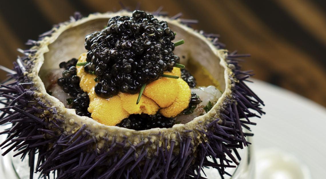 Waku Ghin Marinated Botan Shrimp with Sea Urchin and Caviar