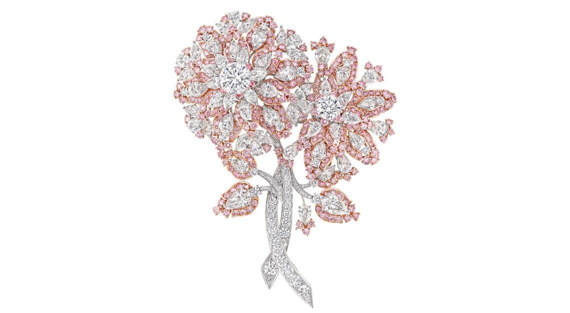 GRAFF Pink diamond floral brooch, total diamond 63 carats March 2020_GA1089