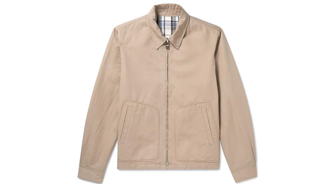 Mr P. Reversible Checked Cotton and Linen-Blend Harrington Jacket