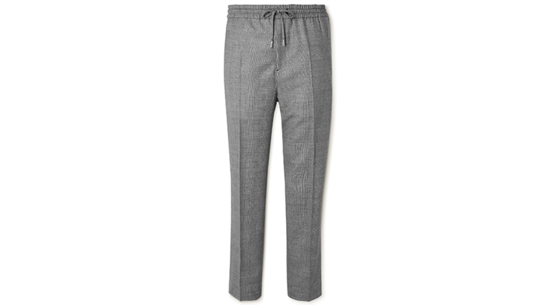 Mr P. Tapered Checked Virgin Wool Drawstring Golf Trousers